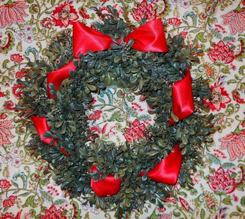 Festive Boxwood Wreath with Red Ribbon