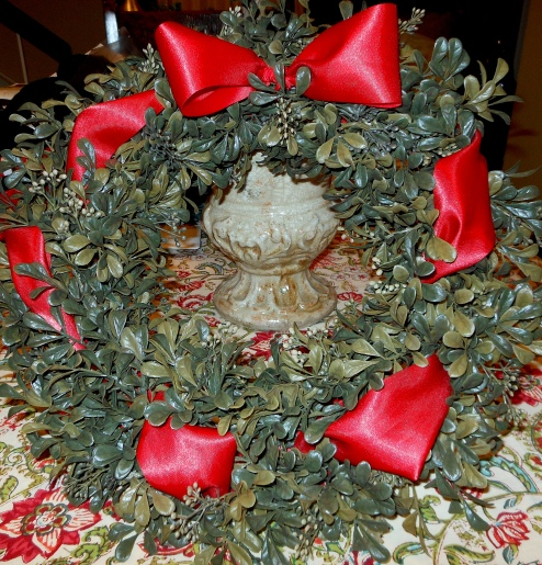 Boxwood Wreath with Red Ribbon