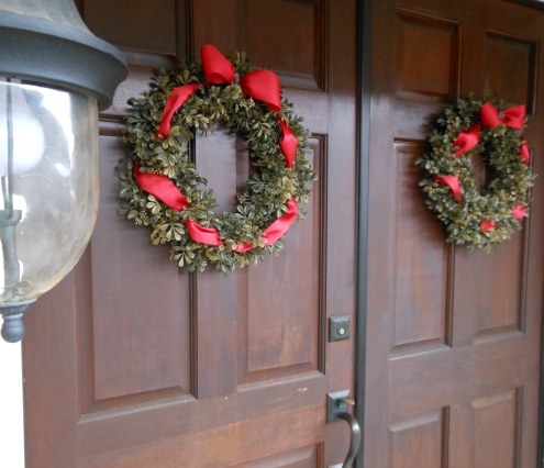 Boxwood Holiday Wreath with Red Ribbon